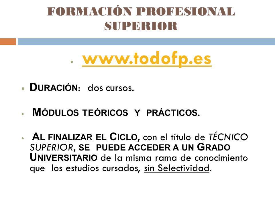 FORMACIÓN PROFESIONAL SUPERIOR www.todofp.es D URACIÓN : dos cursos.