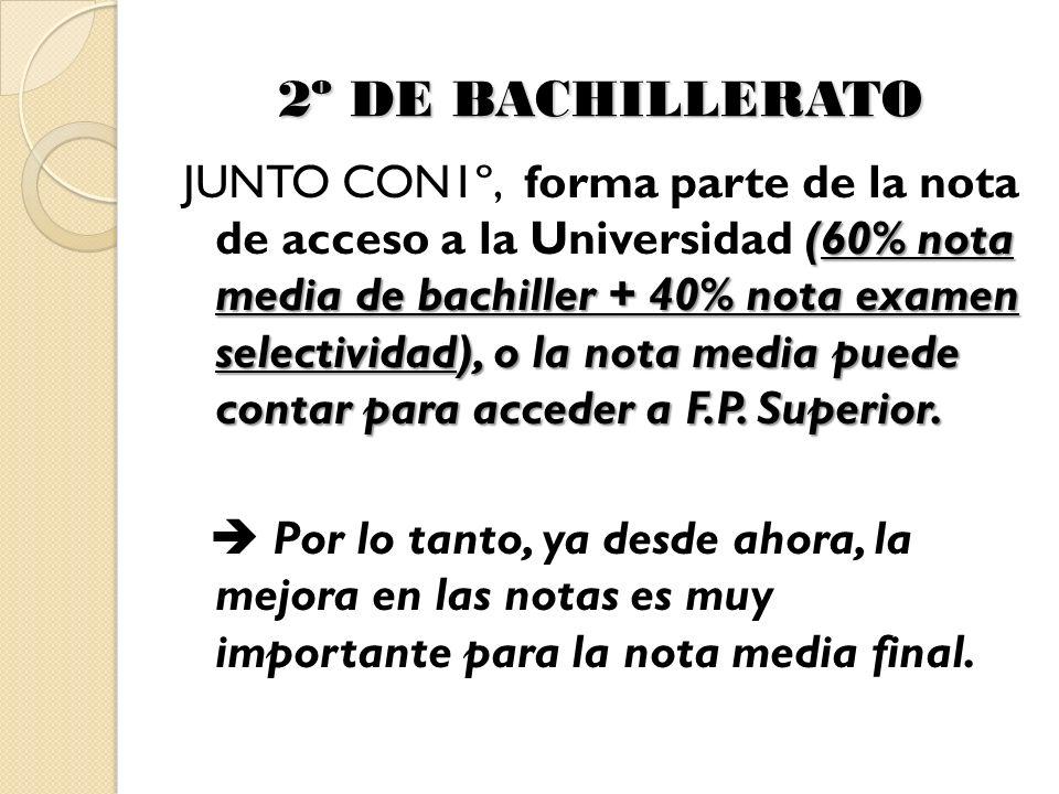 2º DE BACHILLERATO (60% nota media de bachiller + 40% nota examen selectividad), o la nota media puede contar para acceder a F.P.