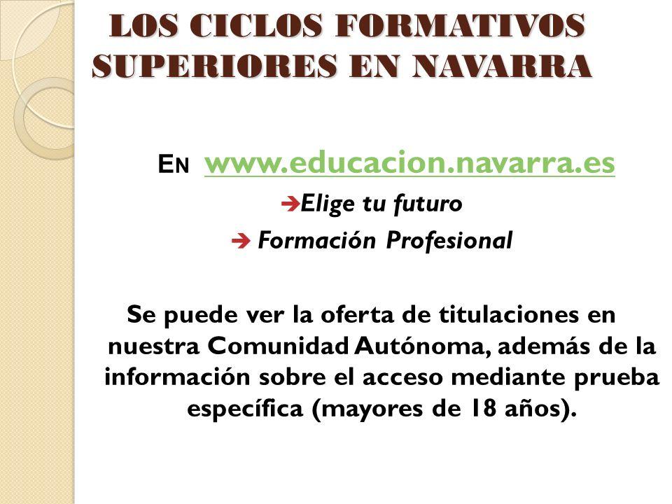 LOS CICLOS FORMATIVOS SUPERIORES EN NAVARRA LOS CICLOS FORMATIVOS SUPERIORES EN NAVARRA E N www.educacion.navarra.es www.educacion.navarra.es Elige tu