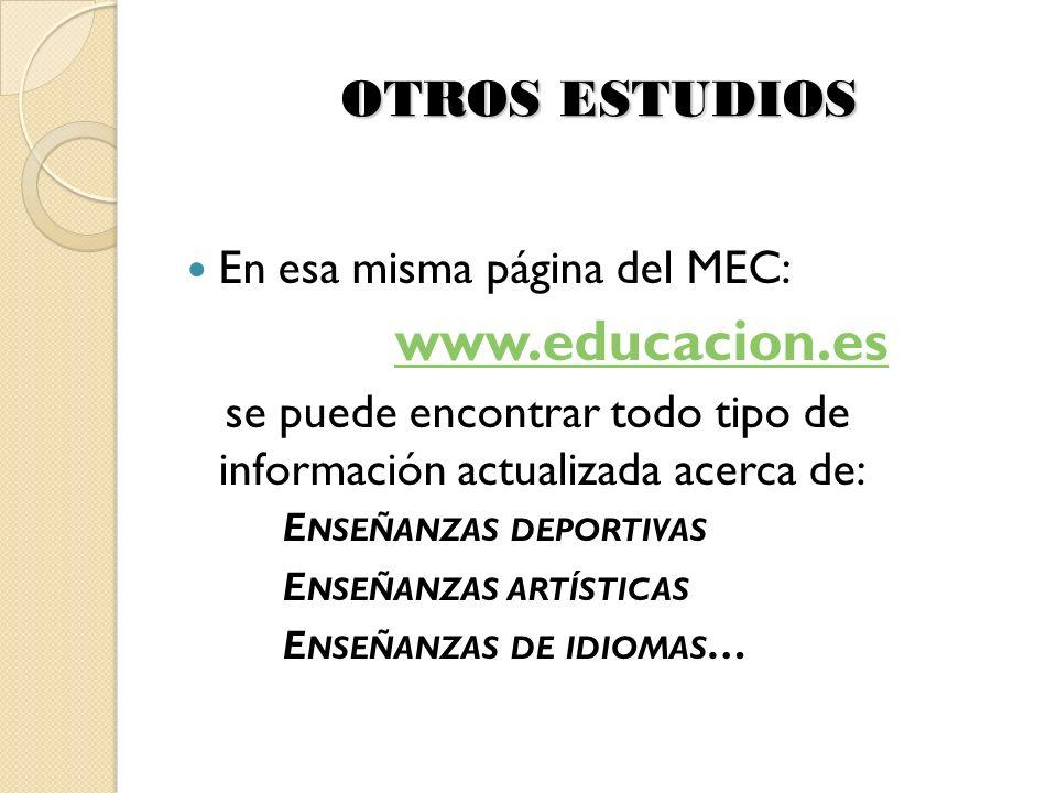 OTROS ESTUDIOS En esa misma página del MEC: www.educacion.es se puede encontrar todo tipo de información actualizada acerca de: E NSEÑANZAS DEPORTIVAS E NSEÑANZAS ARTÍSTICAS E NSEÑANZAS DE IDIOMAS …