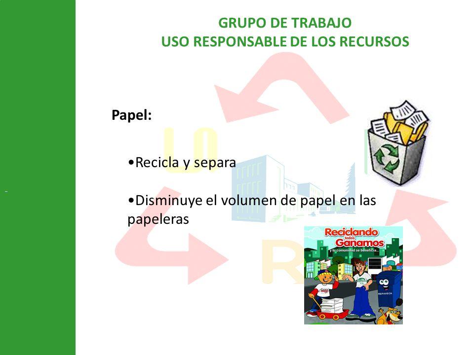 GRUPO DE TRABAJO USO RESPONSABLE DE LOS RECURSOS Papel: Recicla y separa Disminuye el volumen de papel en las papeleras
