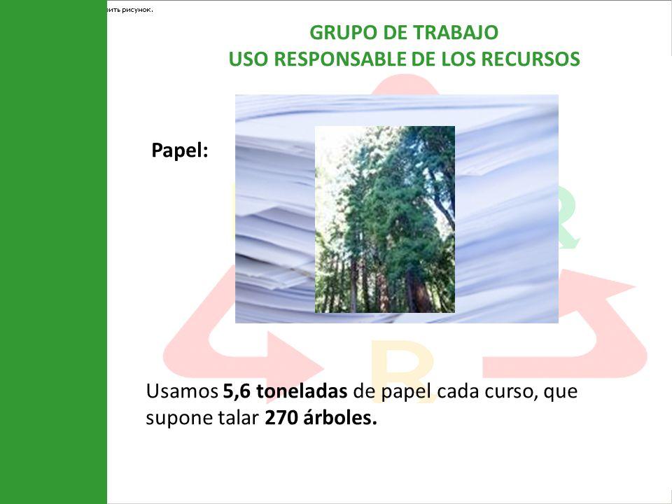 GRUPO DE TRABAJO USO RESPONSABLE DE LOS RECURSOS Papel: Usamos 5,6 toneladas de papel cada curso, que supone talar 270 árboles.