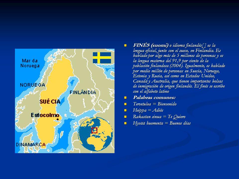 FINÉS (suomi) o idioma finlandés[ ] es la lengua oficial, junto con el sueco, en Finlandia. Es hablado por algo más de 5 millones de personas y es la