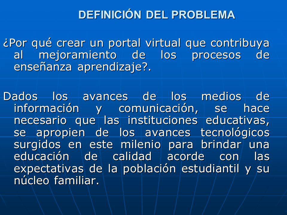 DEFINICIÓN DEL PROBLEMA ¿Por qué crear un portal virtual que contribuya al mejoramiento de los procesos de enseñanza aprendizaje?. Dados los avances d