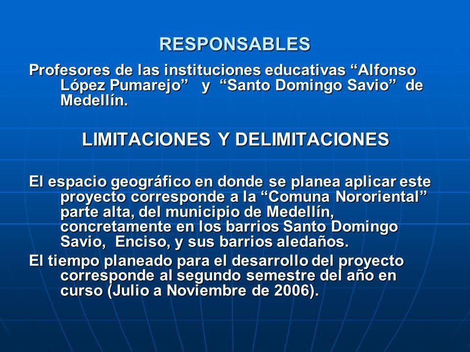 RESPONSABLES Profesores de las instituciones educativas Alfonso López Pumarejo y Santo Domingo Savio de Medellín. LIMITACIONES Y DELIMITACIONES El esp