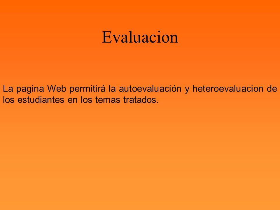 La pagina Web permitirá la autoevaluación y heteroevaluacion de los estudiantes en los temas tratados. Evaluacion