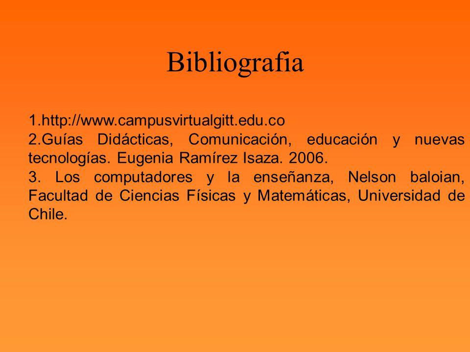 1.http://www.campusvirtualgitt.edu.co 2.Guías Didácticas, Comunicación, educación y nuevas tecnologías. Eugenia Ramírez Isaza. 2006. 3. Los computador