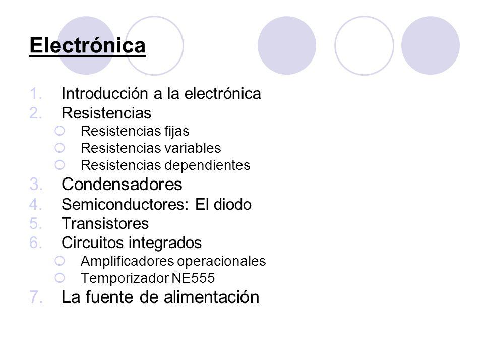Electrónica 1.Introducción a la electrónica 2.Resistencias Resistencias fijas Resistencias variables Resistencias dependientes 3.Condensadores 4.Semic