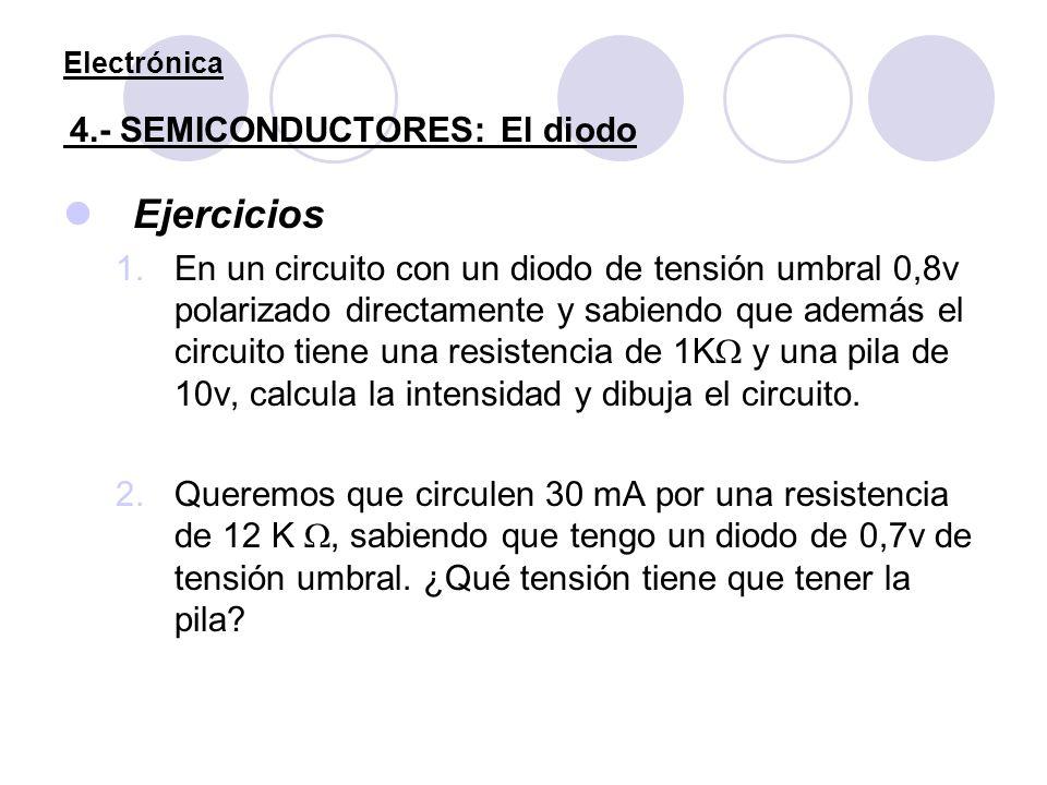 Electrónica 4.- SEMICONDUCTORES: El diodo Ejercicios 1.En un circuito con un diodo de tensión umbral 0,8v polarizado directamente y sabiendo que ademá