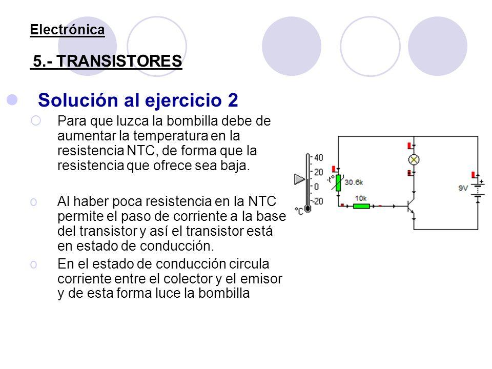Electrónica 5.- TRANSISTORES Solución al ejercicio 2 Para que luzca la bombilla debe de aumentar la temperatura en la resistencia NTC, de forma que la