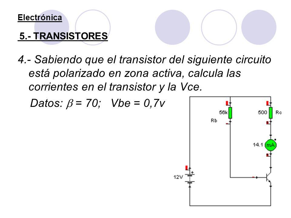 Electrónica 5.- TRANSISTORES 4.- Sabiendo que el transistor del siguiente circuito está polarizado en zona activa, calcula las corrientes en el transi