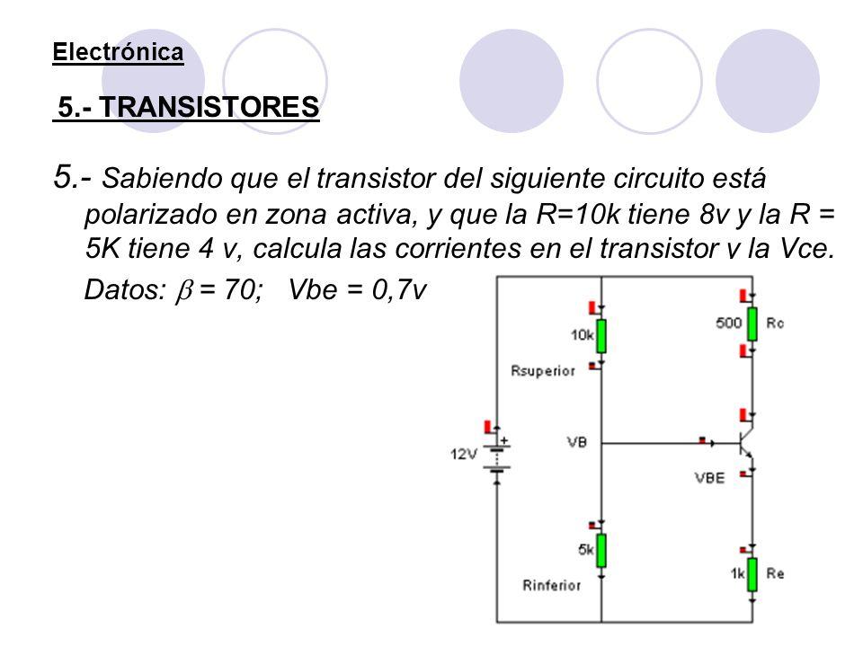 Electrónica 5.- TRANSISTORES 5.- Sabiendo que el transistor del siguiente circuito está polarizado en zona activa, y que la R=10k tiene 8v y la R = 5K