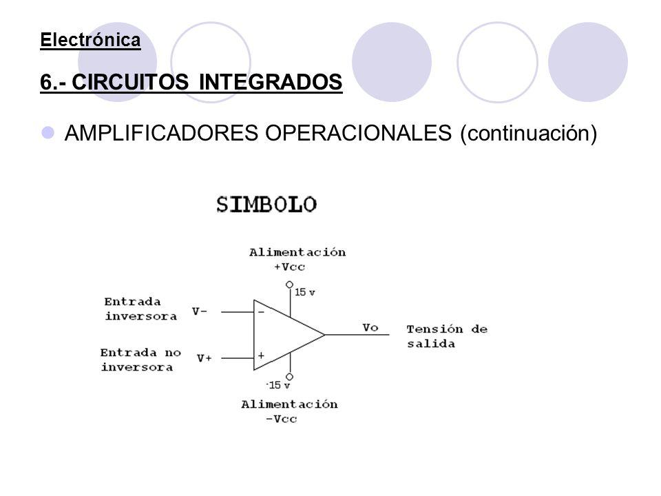 Electrónica 6.- CIRCUITOS INTEGRADOS AMPLIFICADORES OPERACIONALES (continuación)