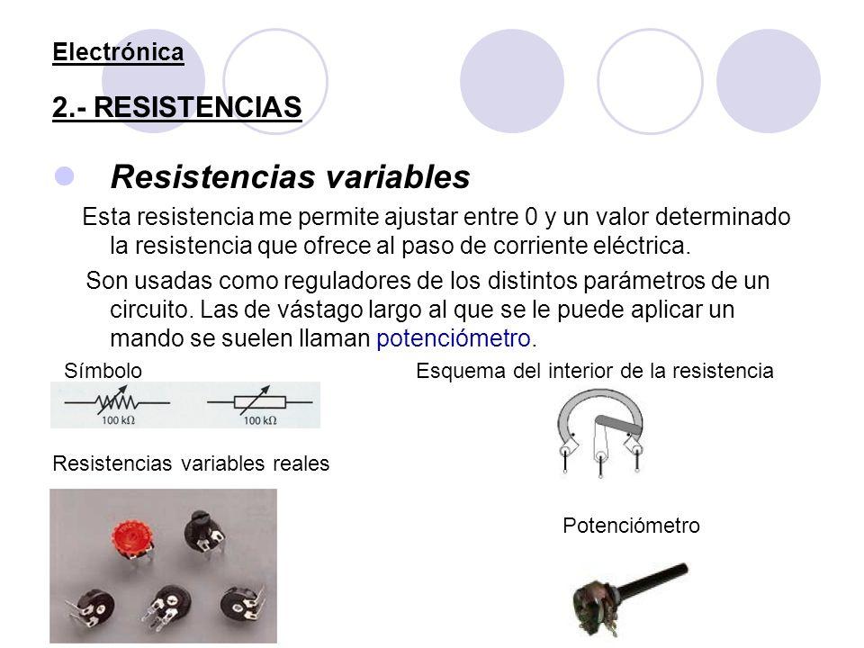 Electrónica 2.- RESISTENCIAS Resistencias variables Esta resistencia me permite ajustar entre 0 y un valor determinado la resistencia que ofrece al pa