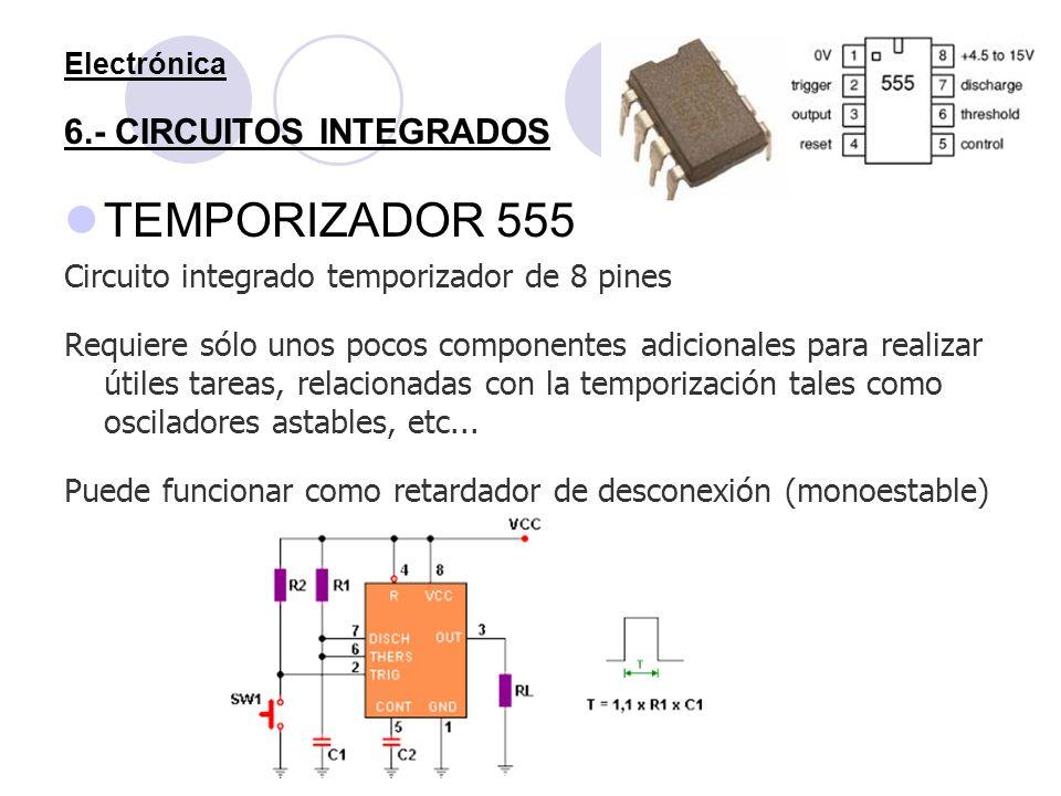 Electrónica 6.- CIRCUITOS INTEGRADOS TEMPORIZADOR 555 Circuito integrado temporizador de 8 pines Requiere sólo unos pocos componentes adicionales para
