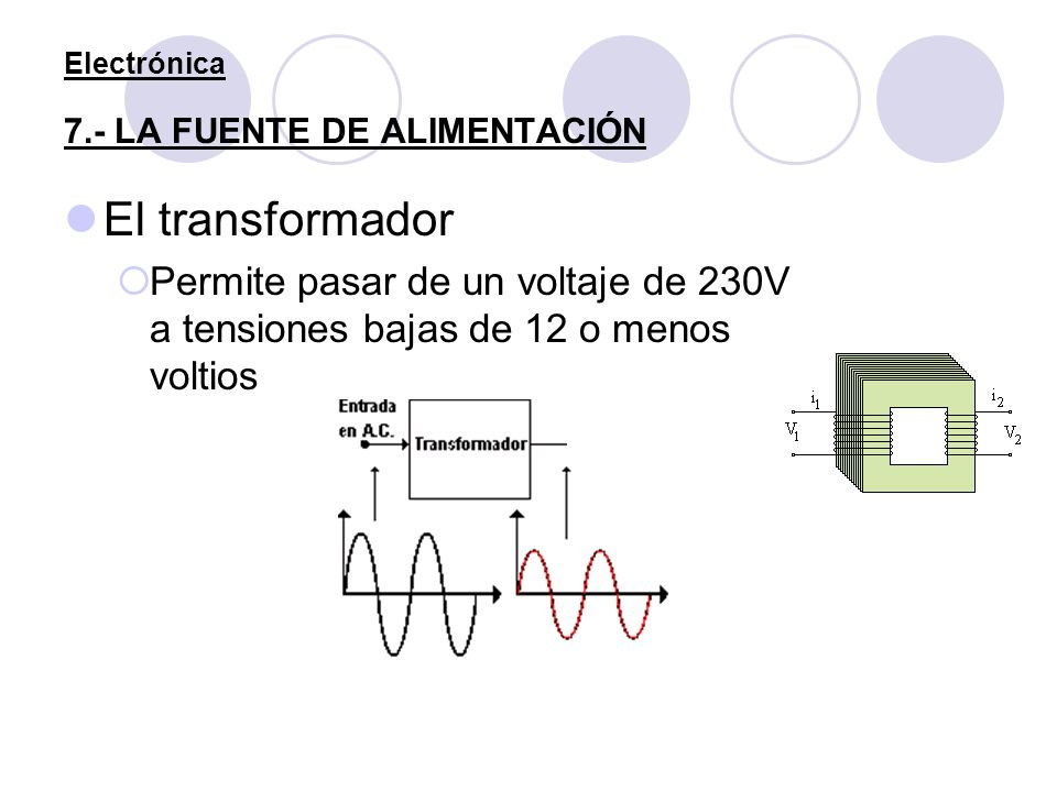 Electrónica 7.- LA FUENTE DE ALIMENTACIÓN El transformador Permite pasar de un voltaje de 230V a tensiones bajas de 12 o menos voltios