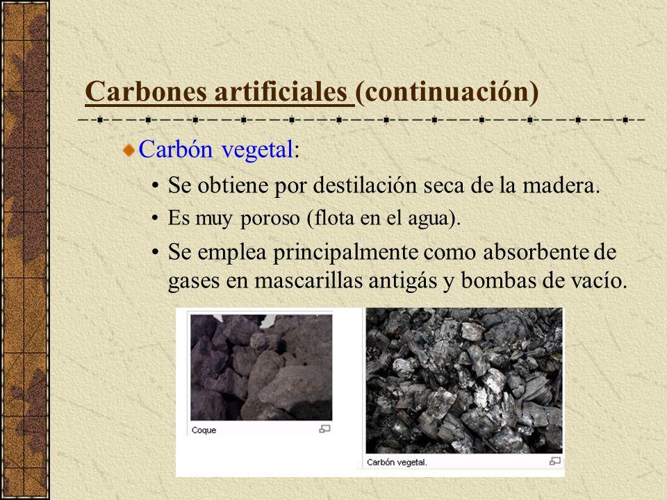Carbones artificiales (continuación) Carbón vegetal: Se obtiene por destilación seca de la madera. Es muy poroso (flota en el agua). Se emplea princip