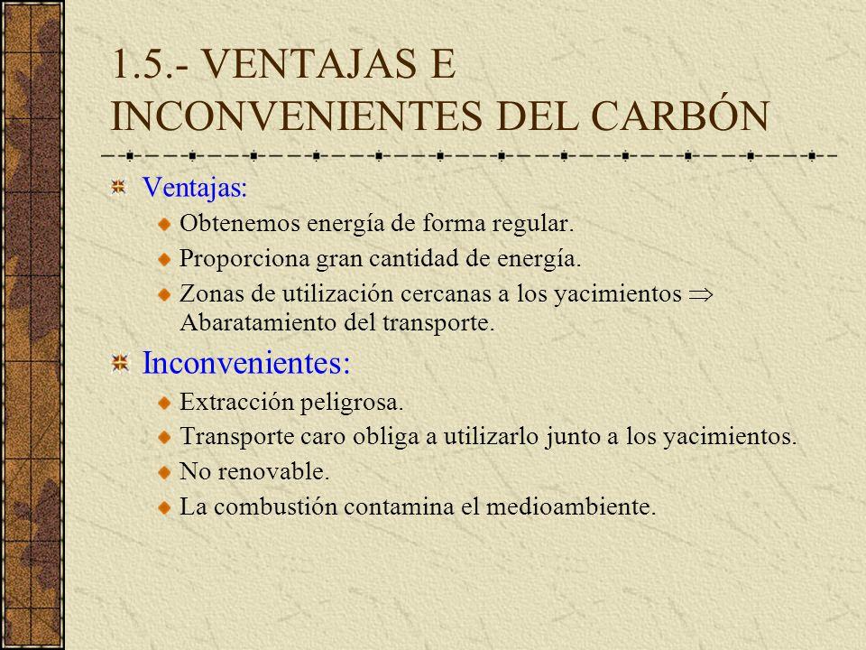 1.5.- VENTAJAS E INCONVENIENTES DEL CARBÓN Ventajas: Obtenemos energía de forma regular. Proporciona gran cantidad de energía. Zonas de utilización ce