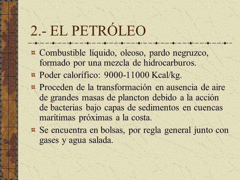 2.- EL PETRÓLEO Combustible líquido, oleoso, pardo negruzco, formado por una mezcla de hidrocarburos. Poder calorífico: 9000-11000 Kcal/kg. Proceden d