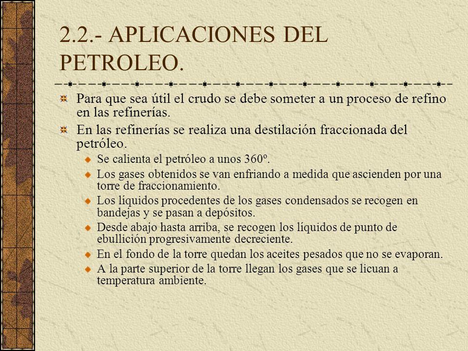 2.2.- APLICACIONES DEL PETROLEO. Para que sea útil el crudo se debe someter a un proceso de refino en las refinerías. En las refinerías se realiza una