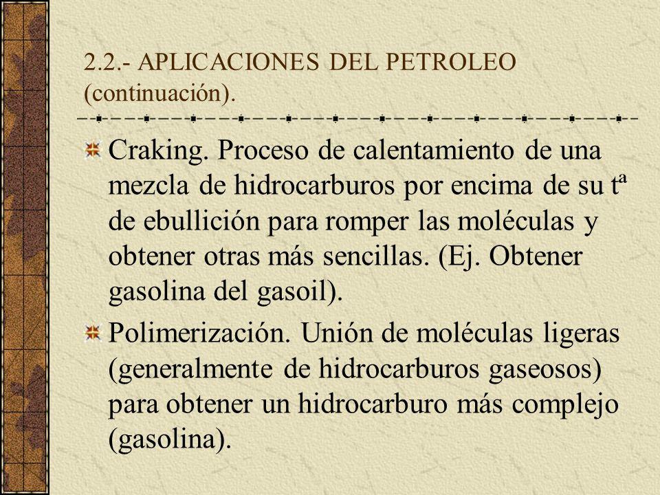 2.2.- APLICACIONES DEL PETROLEO (continuación). Craking. Proceso de calentamiento de una mezcla de hidrocarburos por encima de su tª de ebullición par