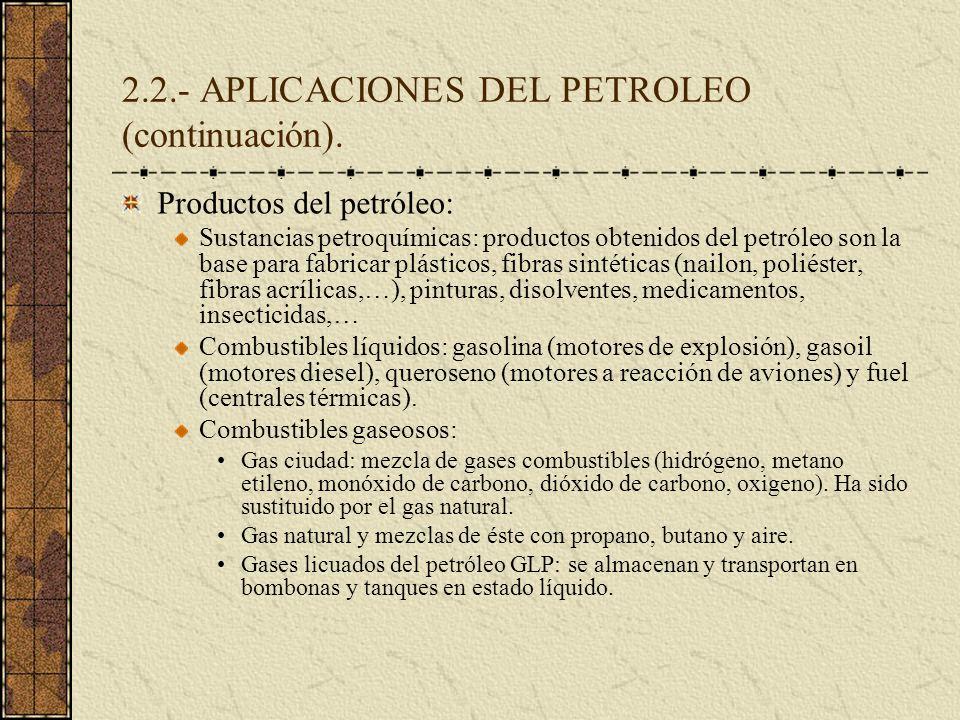 2.2.- APLICACIONES DEL PETROLEO (continuación). Productos del petróleo: Sustancias petroquímicas: productos obtenidos del petróleo son la base para fa