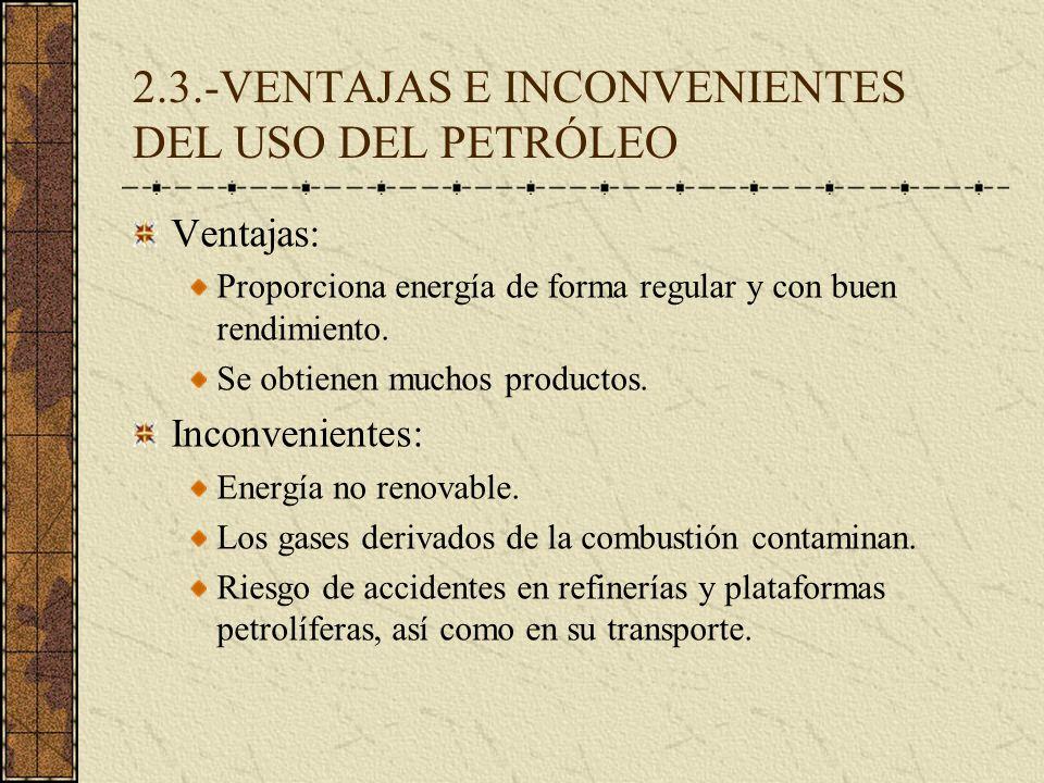 2.3.-VENTAJAS E INCONVENIENTES DEL USO DEL PETRÓLEO Ventajas: Proporciona energía de forma regular y con buen rendimiento. Se obtienen muchos producto