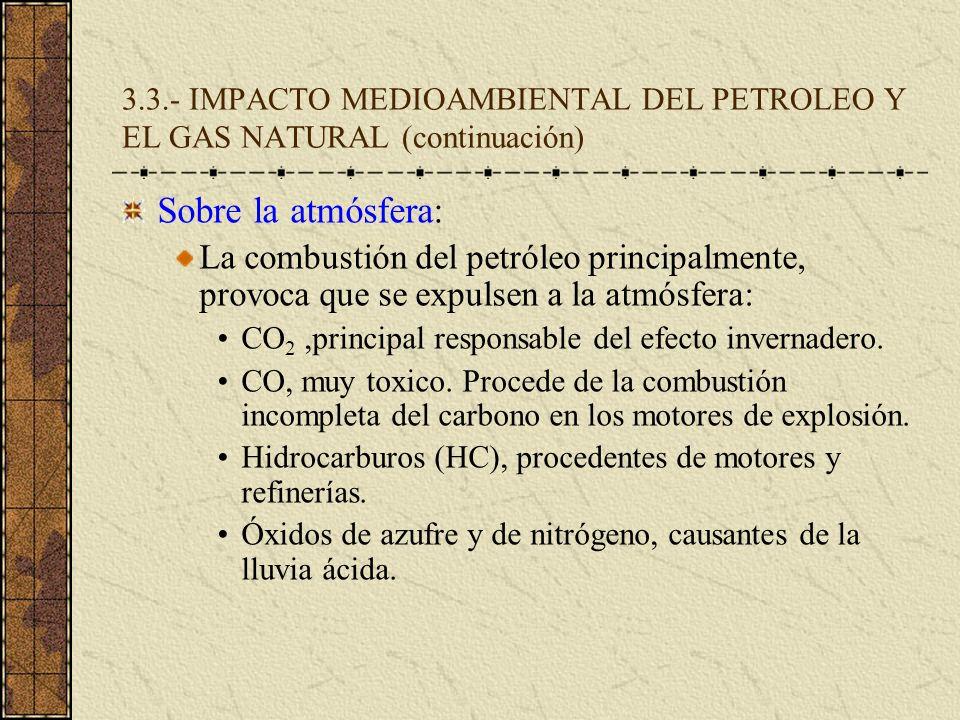 3.3.- IMPACTO MEDIOAMBIENTAL DEL PETROLEO Y EL GAS NATURAL (continuación) Sobre la atmósfera: La combustión del petróleo principalmente, provoca que s