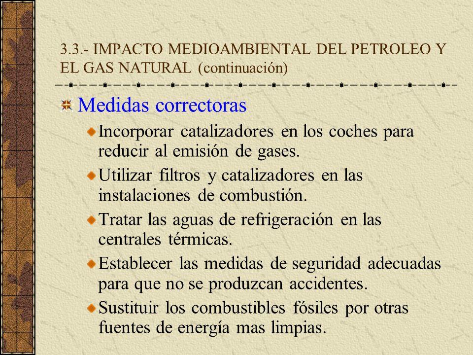 3.3.- IMPACTO MEDIOAMBIENTAL DEL PETROLEO Y EL GAS NATURAL (continuación) Medidas correctoras Incorporar catalizadores en los coches para reducir al e