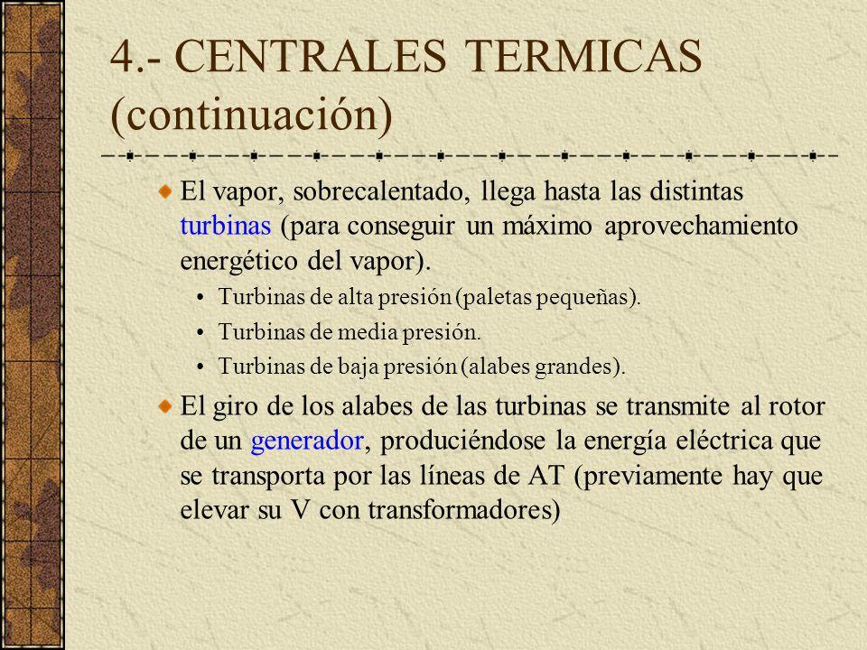 4.- CENTRALES TERMICAS (continuación) El vapor, sobrecalentado, llega hasta las distintas turbinas (para conseguir un máximo aprovechamiento energétic