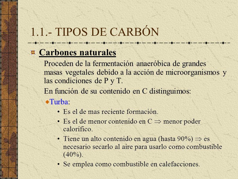 1.1.- TIPOS DE CARBÓN Carbones naturales Proceden de la fermentación anaeróbica de grandes masas vegetales debido a la acción de microorganismos y las