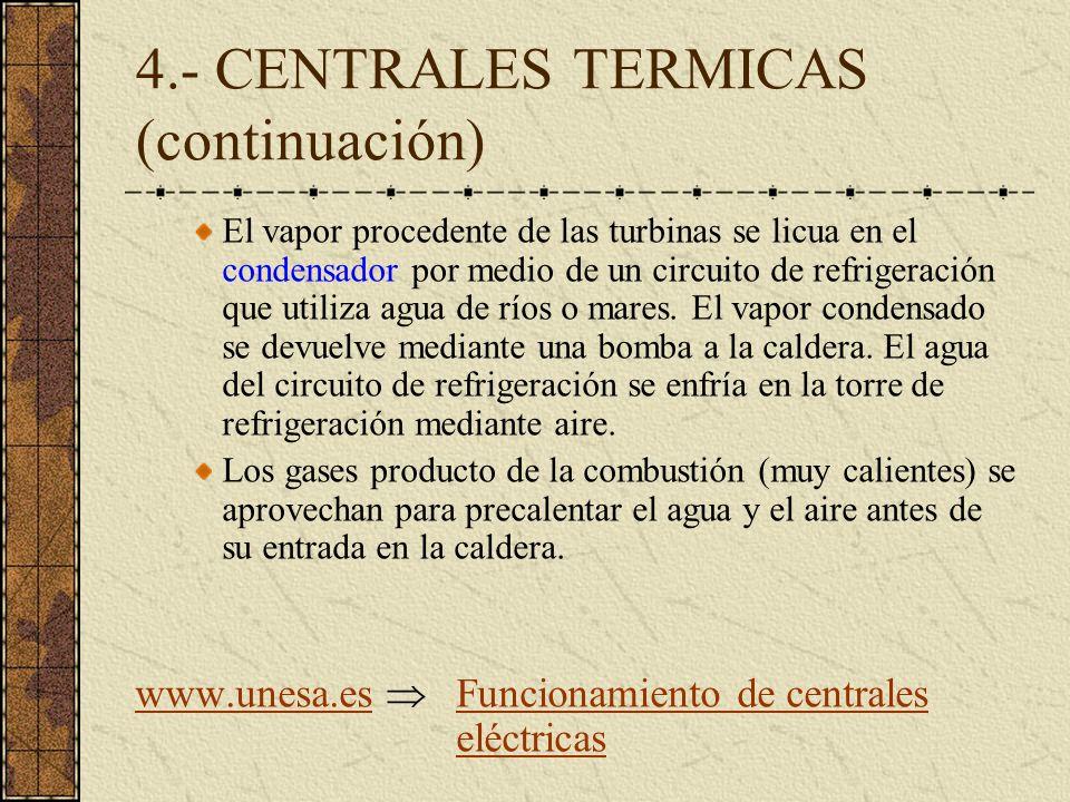 4.- CENTRALES TERMICAS (continuación) El vapor procedente de las turbinas se licua en el condensador por medio de un circuito de refrigeración que uti