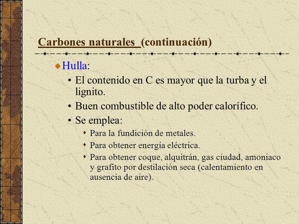 Carbones naturales (continuación) Hulla: El contenido en C es mayor que la turba y el lignito. Buen combustible de alto poder calorífico. Se emplea: P