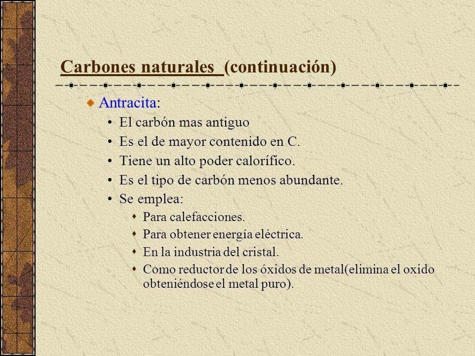 Carbones naturales (continuación) Antracita: El carbón mas antiguo Es el de mayor contenido en C. Tiene un alto poder calorífico. Es el tipo de carbón