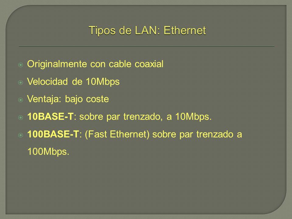Originalmente con cable coaxial Velocidad de 10Mbps Ventaja: bajo coste 10BASE-T: sobre par trenzado, a 10Mbps. 100BASE-T: (Fast Ethernet) sobre par t