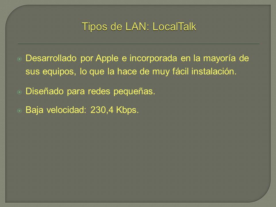 Desarrollado por Apple e incorporada en la mayoría de sus equipos, lo que la hace de muy fácil instalación. Diseñado para redes pequeñas. Baja velocid