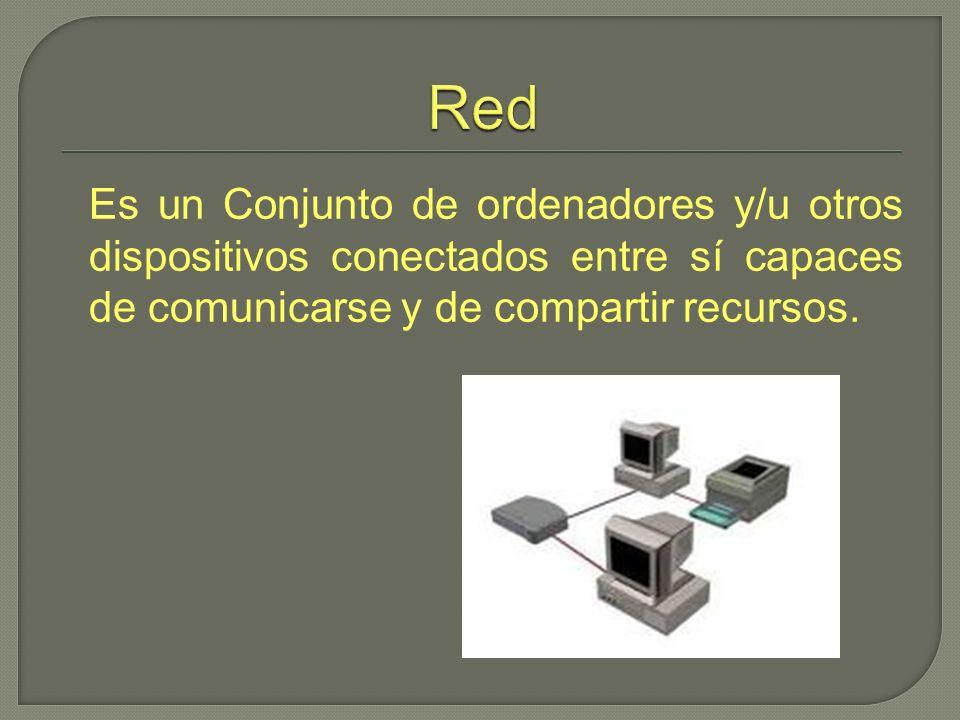 Es un Conjunto de ordenadores y/u otros dispositivos conectados entre sí capaces de comunicarse y de compartir recursos.