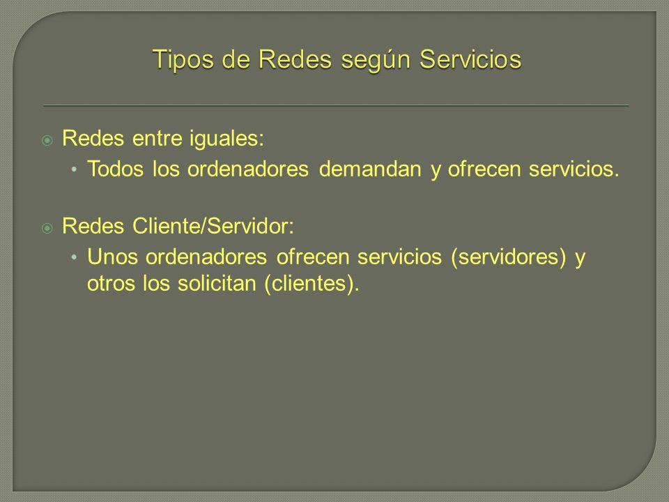 Redes entre iguales: Todos los ordenadores demandan y ofrecen servicios. Redes Cliente/Servidor: Unos ordenadores ofrecen servicios (servidores) y otr
