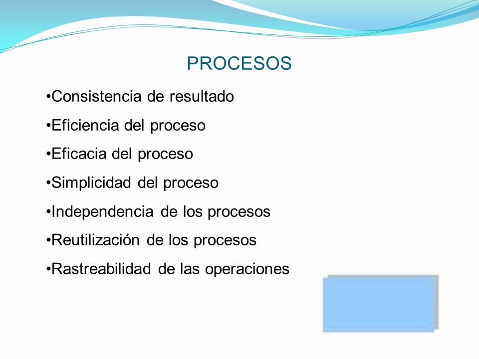 PROCESOS Consistencia de resultado Eficiencia del proceso Eficacia del proceso Simplicidad del proceso Independencia de los procesos Reutilización de