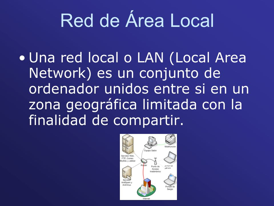 Red de Área Local Una red local o LAN (Local Area Network) es un conjunto de ordenador unidos entre si en un zona geográfica limitada con la finalidad