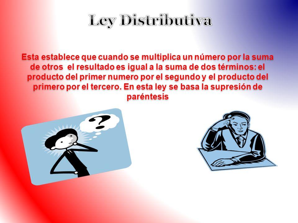 Esta establece que cuando se multiplica un número por la suma de otros el resultado es igual a la suma de dos términos: el producto del primer numero
