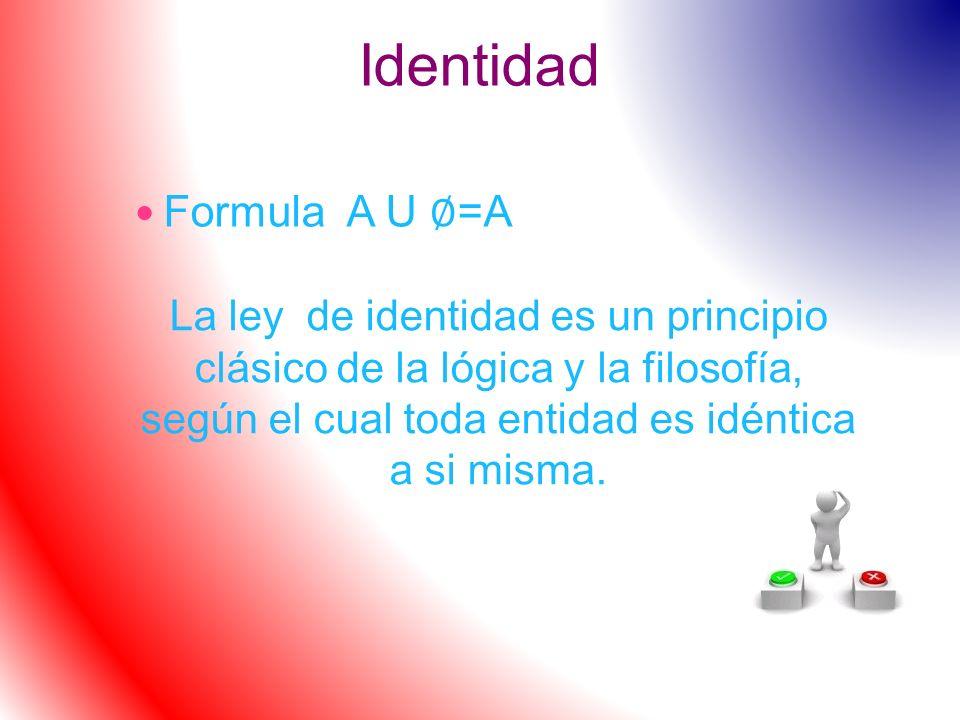 Identidad Formula A U =A La ley de identidad es un principio clásico de la lógica y la filosofía, según el cual toda entidad es idéntica a si misma.