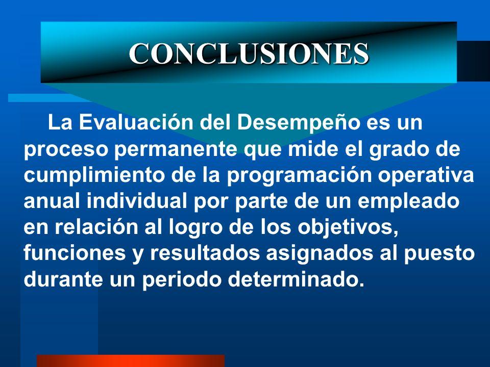 CONCLUSIONES La Evaluación del Desempeño es un proceso permanente que mide el grado de cumplimiento de la programación operativa anual individual por