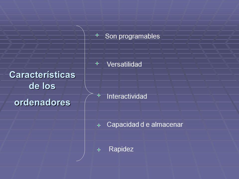 Características de los ordenadores Son programables Versatilidad Interactividad Capacidad d e almacenar Rapidez