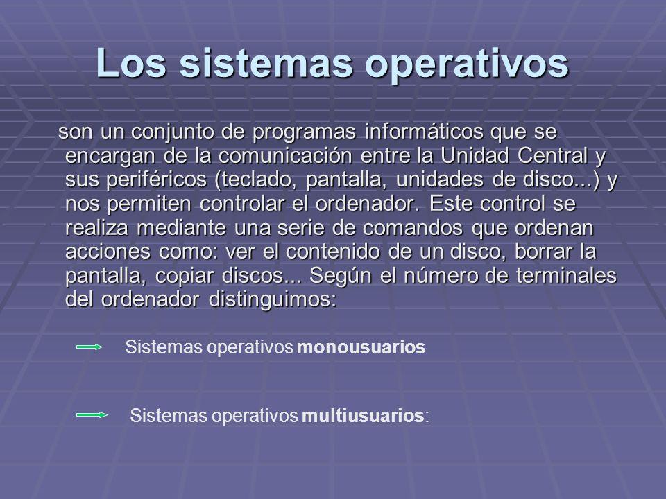 Los sistemas operativos son un conjunto de programas informáticos que se encargan de la comunicación entre la Unidad Central y sus periféricos (teclad