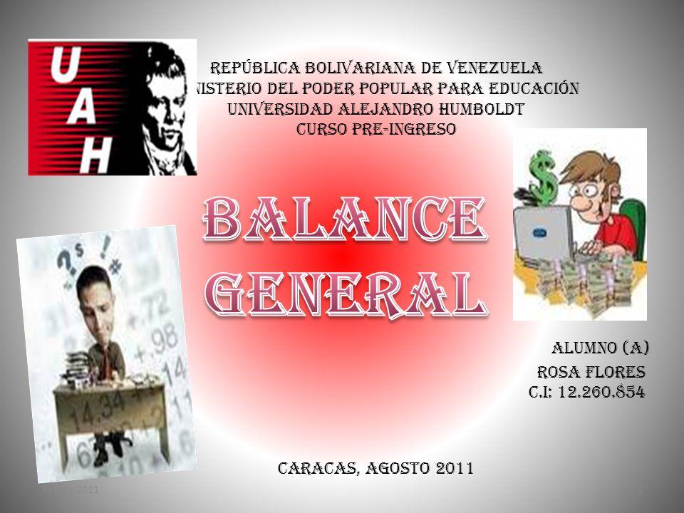 República Bolivariana de Venezuela Ministerio del Poder Popular para Educación Universidad Alejandro Humboldt Curso Pre-ingreso Alumno (a) Rosa Flores
