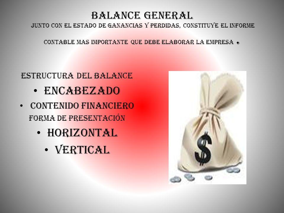 Balance General Junto con el estado de ganancias y perdidas, constituye el informe contable mas importante que debe elaborar la empresa. estructura de