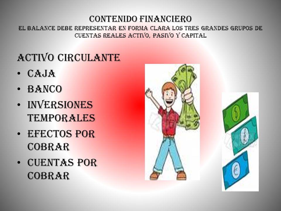 Contenido Financiero el balance debe representar en forma clara los tres grandes grupos de cuentas reales activo, pasivo y capital Activo Circulante C