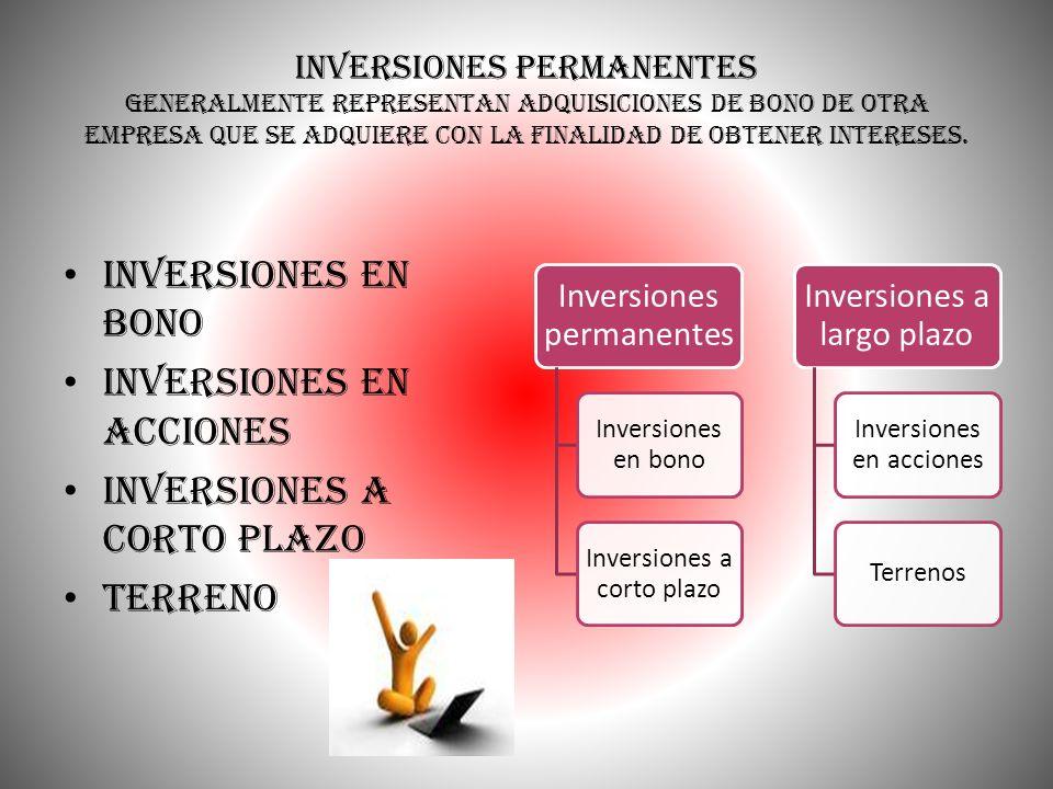 Inversiones permanentes generalmente representan adquisiciones de bono de otra empresa que se adquiere con la finalidad de obtener intereses. Inversio