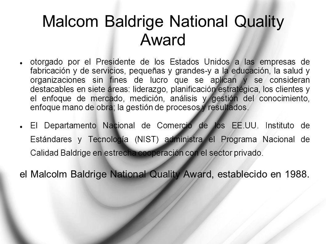 El Premio lleva el nombre de Malcolm Baldrige, quien se desempeñó como Secretario de Comercio (USA) desde 1981 hasta su trágica muerte en un accidente de rodeo en 1987.